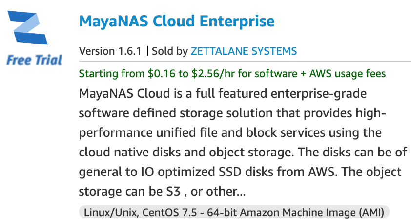 MayaNAS Cloud Enterprise on AWS
